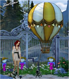 Jennisims: Downloads sims 4: Decoratives Vol 39 (Air balloon,Scarecrow,Dog puppet)