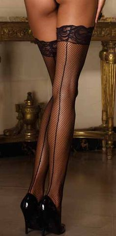 Dreamgirl black or white fishnet lace top seamed hold ups