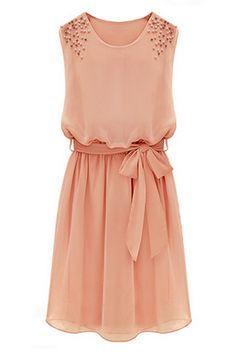 ROMWE   Beaded Self-tied Pleated Pink Dress, The Latest Street Fashion #ROMWEROCOCO