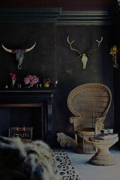 Vintage, antlers, interior, interior styling, wicker, peacock chair, bohemian, interior styling