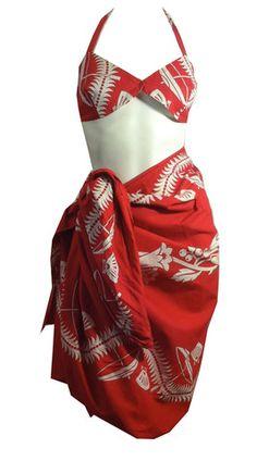 Cherry Red Tropical Umbrella Novelty Print Bra and Sarong circa 1940s - Dorothea's Closet Vintage