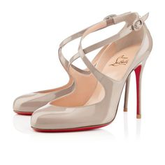 Louboutin Viva Dita 100mm Mary Jane Pumps Stein #redbottoms