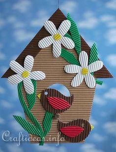 Corrugated Cardboard Birdhouse Decoration