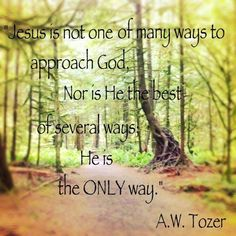 """""""JESUS is not one of many ways to approach God, nor is He the best of several ways.  He is the ONLY way."""" ~ A.W. Tozer"""