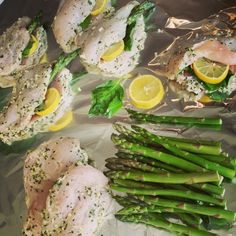 Lemon basil chicken breasts stuffed with asparagus
