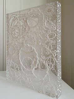 Georgette Benisty-Painting with Lace on Plexiglass-Prayer Series-White on White