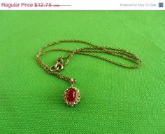 VDAY SALE Gold-tone Necklace with Red and by LaylaBaylaJewelry