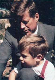 JOHN-JOHN AND HIS DADDY - JFK...............ccp