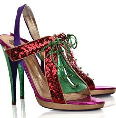 Viktor and Rolf metallic multi-colored sequined platform leather  sandals #Shoes #Heels