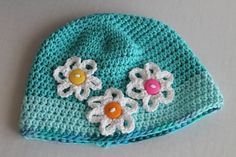 Baby Handmade Hat with Accent Flowers  Cotton  by SnugableTouches, $10.00