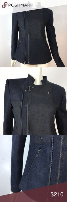 """BCBGMaxazria Black """"Darin"""" Moto Jacket Moto STyle Black zipper front jacket. 4 zipper pockets in front, Two different textures; blue jersey, black textured. Mandarin collar. Two zippers to choose from to zip up the jacket BCBGMaxAzria Jackets & Coats Blazers"""