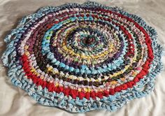 26 Round Knotted Toothbrush Rag Rug Multi Colored Fabrics Throw