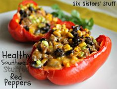 Southwest Stuffed Red Peppers | Six Sisters' Stuff - Leave out the turkey or sub non-meat crumbles, use veggie stock and omit cheese