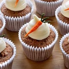 Carrot Cake Cupcakes with Cream Cheese Frosting for Easter from BBC Food, found at www.edamam.com.