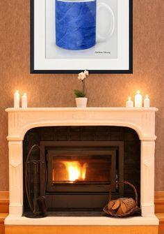 """""""Deep Blue Marble Mug"""" Framed Art Print (2012) by Corbin Henry.  #art #coffeeart #framedart #coffee #coffeelover #modernart #corbinhenry"""