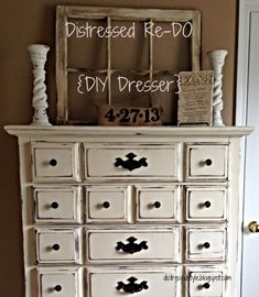 Refinished dresser.  Distressed Re-Do - DIY Dresser #ChalkPaint - Refinished Furniture