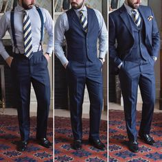 The three phases of the three piece navy suit.