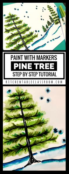 This pine tree tutorial includes a few simple directed drawing steps along plus color using the super simple (and not messy) paint with markers technique. #artsandcrafts