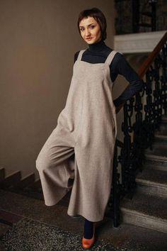 fda94dcc2d5 Beige woolen romper jumpsuit for winter spring
