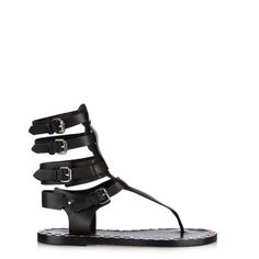 ISABEL MARANT Jeepy gladiator leather sandals ($450) ❤ liked on Polyvore featuring shoes, sandals, black, black strap sandals, greek sandals, strappy sandals, black leather sandals et black leather shoes