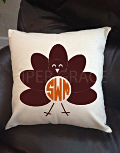 Thanksgiving Pillow Cover with Turkey and by PiperGraceGifts