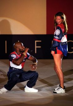 Kate Moss + Treach of Naughty by Nature at Tommy Hilfiger S/S 1997 show, London 1996
