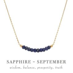 Natural Sapphire Necklace in Gold, Rose Gold or Silver - September Birthstone - Blue Sapphire Bar Beaded Necklace, Gift for Women Sapphire Necklace, Sapphire Jewelry, Sapphire Gemstone, Birthstone Jewelry, Blue Sapphire, Gifts For Boss, Gifts For Women, Bar Necklace, Beaded Necklace