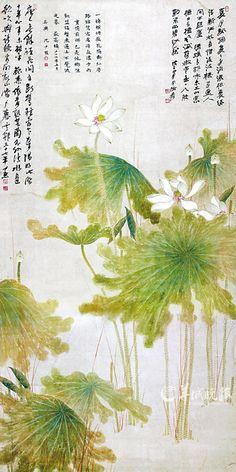 Zhang DaQian: Lotus - the colours! Lotus Painting, Ink Painting, Japanese Prints, Japanese Art, Lotus Art, China Art, Zen Art, Traditional Paintings, Chinese Painting