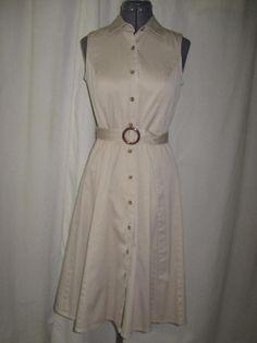 Charter Club Khaki Tan Button Down Belted Sleeveless A Line Gored Shirt Dress 4 #CharterClub #ShirtDress #Casual