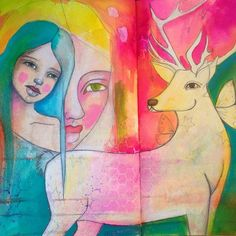 Art journal spread by Tam LaPorte. Love the colors she used. Definitely my style.