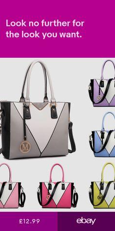 72128fa31d MISS LULU Ladies Structure Contrast Shoulder Handbag Tote Color Block Panel