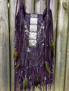 Handmade D Byzantium Leather Cross Body Bag Hippie Fringe Boho Hobo Purse B Joy | eBay