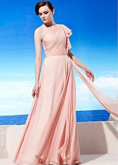 In Stock Chic A-line One Shoulder Neckline Pink Floor-length Party Dress Formal Event Dress