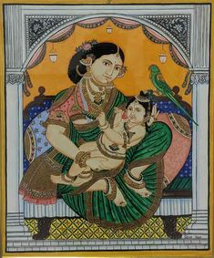 Yashoda Krishna, Krishna Hindu, Mysore Painting, Madhubani Painting, Traditional Paintings, Traditional Art, Bhagavata Purana, Temple India, Lord Krishna Images
