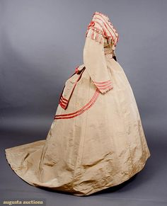 Augusta Auctions, November, 2007 -Tasha Tudor Historic Costume Collection, Lot 67: French Silk Visiting Dress, 1860s