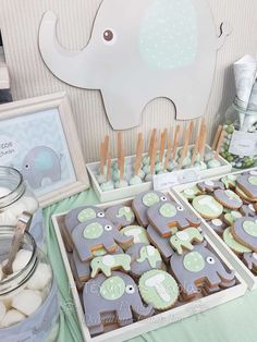 Loving the cookies at this Elephants Baptism Party! See more party ideas and share yours at CatchMyparty.com #elephant #baptism #cookies