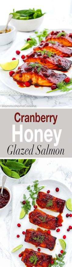 This Cranberry Honey Glazed Salmon is simple yet impressive, and tastes absolutely divine!! It's zesty, sweet, savory, and flaky. It comes together in about 30 minutes. http://mommyshomecooking.com