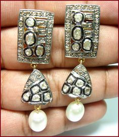 """Signature Victorian Collection....known for its international taste and appeal!    """"Corrina Corrina!"""" New Victorian 1.68ctw Antique/Rose Cut Diamond & Pearl Danglers. Price:$800 or P35,200. Imported, world-class quality, not pre-owned, not pawned, not stolen. WE DELIVER WORLDWIDE ♥"""