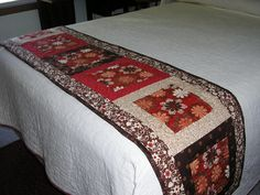 Found this on a search, was sold on Etsy by Beautiful fabric choices! Rag Quilt, Quilt Bedding, Linen Bedding, Colchas Quilting, Quilting Projects, Bed Runner, Skinny Quilts, Ribbon Quilt, Bed Scarf