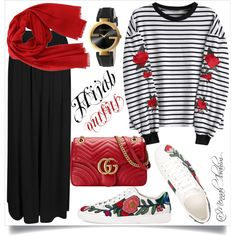 #Hijab_outfits #Modesty #Gucci by mennah-ibrahim on Polyvore featuring polyvore, moda, style, Boohoo, Gucci, Salvatore Ferragamo, fashion and clothing