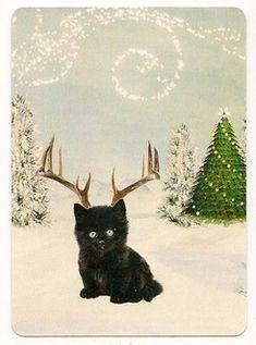 playing-card Christmas kitten