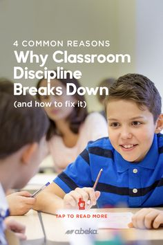 A successful, productive classroom environment hinges upon your students understanding and respecting the disciplinary parameters you set as their teacher. But often,those boundaries break down, and that can lead to a lot of frustration. Here are the 4 most common reasons why that happens and how you can start to remedy the situation. Classroom Discipline, Christian School, Classroom Environment, Students, Teacher, Shit Happens, Reading, Professor
