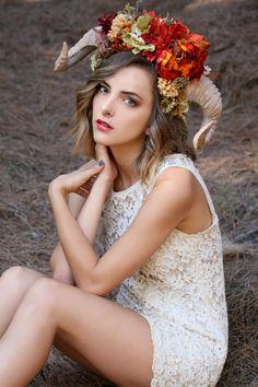 Horned Headdress/ Flower Headdress/ Ram Horns/ Flower Crown/ Fawn Headdress/ Satyr Headdress/ Satyr/ Fawn/ Bohemian/ Flower Crown/ Fairy