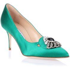 Manolo Blahnik Dela emerald satin pump - shoes
