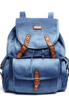 c1c1b32dabae Preppylook Vintage Solid Color Leather Buckle Denim Casual Outdoor Sports  College Students School Backpack Denim Backpack