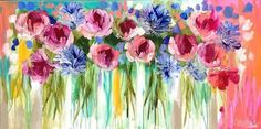 This painting adds colour and brings our dining room to life. Wood Painting Art, Love Painting, Painting & Drawing, Watercolor Paintings, Folk Art Flowers, Abstract Flowers, Watercolor Flowers, Flower Artists, Art Folder