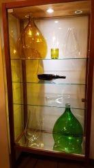 Demijohns on display in La Cava dei Sapori - wonderful decor in this organic, locally sourced Lake Como restaurant