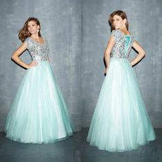 2015 Cheap Beautiful Modest Prom Dresses with Cap Sleeves Light Blue Unique #GentilleDress #EmpireWaist #Casual