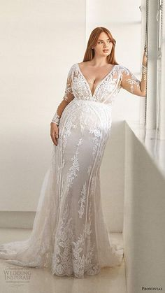 Pronovias has announced a new size-inclusive collection with body-positive icon Ashley Graham, and we're super excited to share with you the images! The 'Ashley Graham x Pronovias' collection is offered in sizes 0 to 34 and w Pronovias Bridal, Bridal Gowns, Gown Wedding, Lace Wedding, Couture Wedding Gowns, Plus Size Wedding Gowns, Curvy Wedding Dresses, Plus Size Brides, Plus Size Bridal Dresses