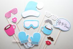 12pc * Winter Photobooth Props/Frozen Inspired Photo Booth Props/Frozen Props/Elsa and Ana/Photobooth Props